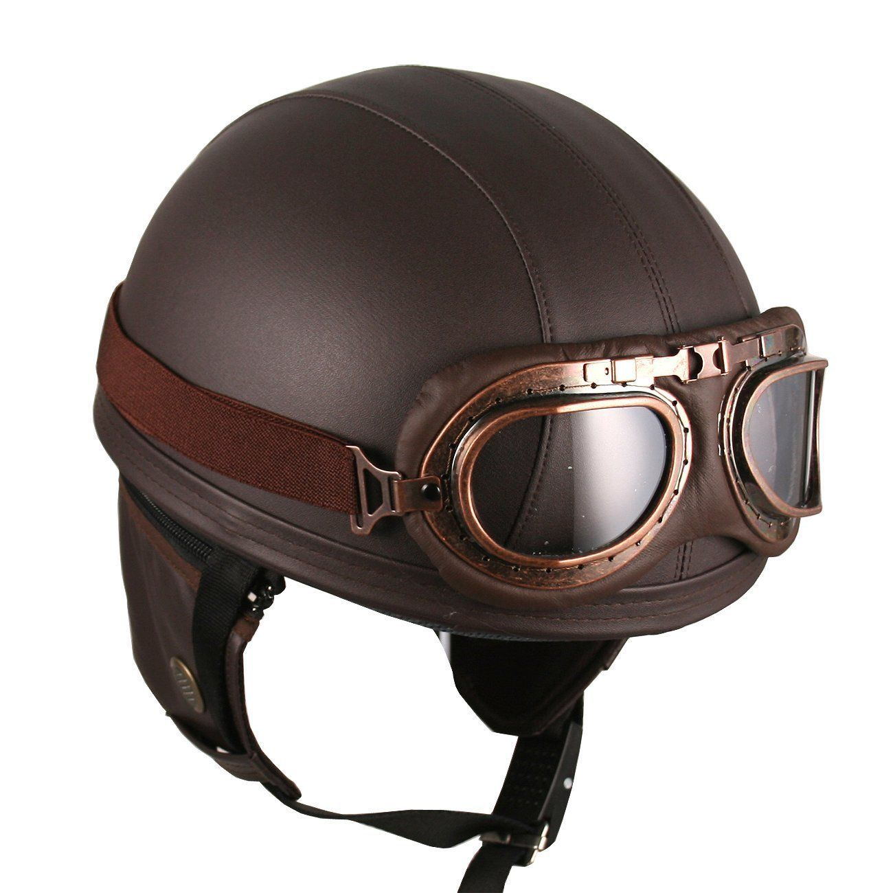 leather brown half helmet