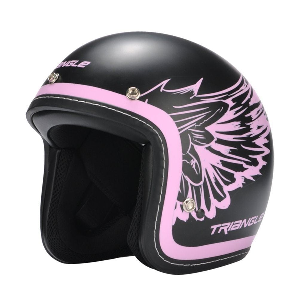 black and pink motorcycle helmet