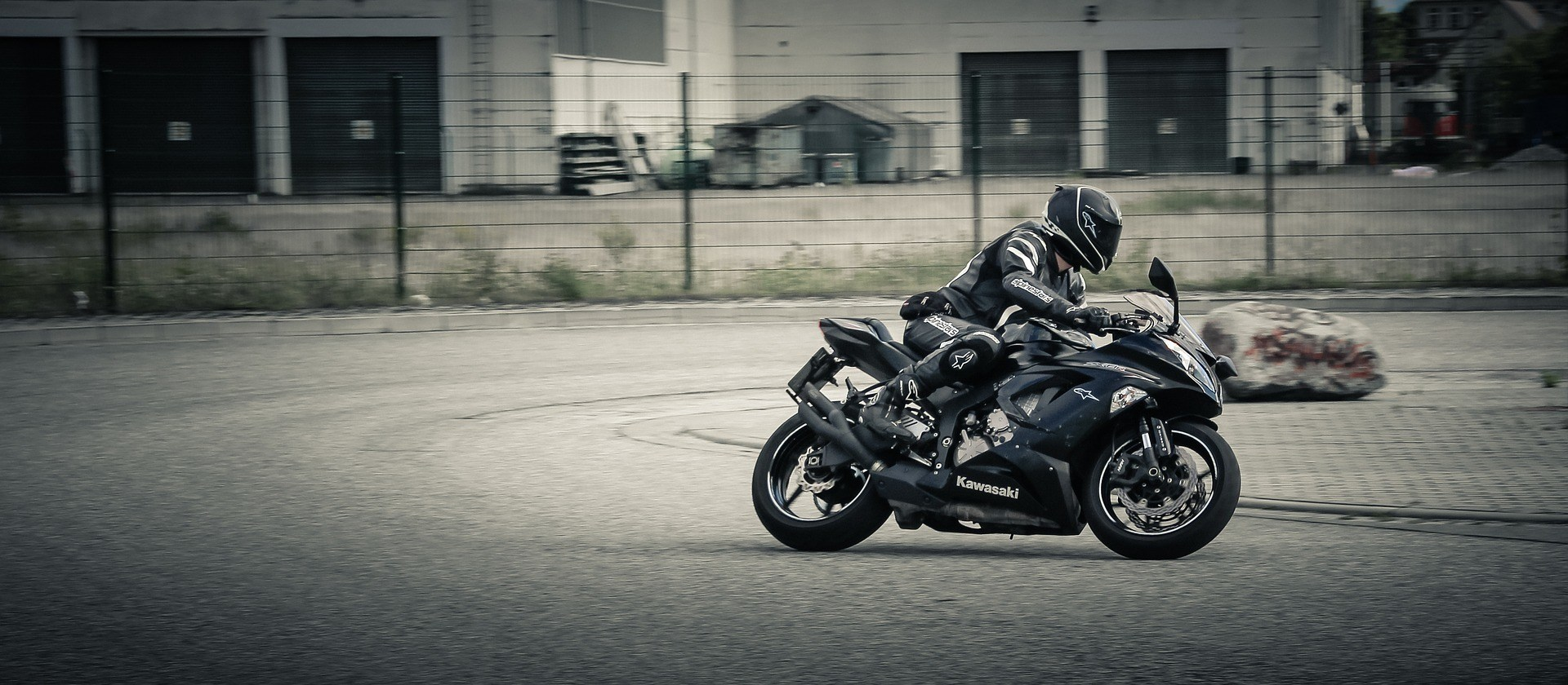 testing a black motorcycle