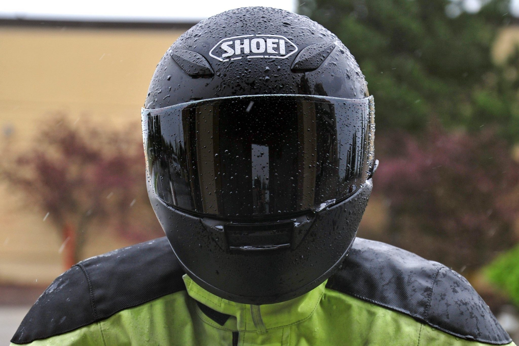 man wearing black motorcycle helmet