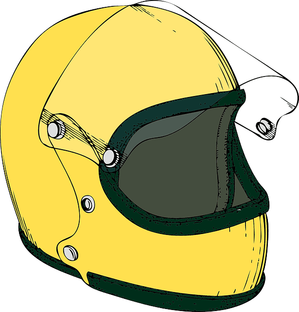 yellow open face motorcycle helmet